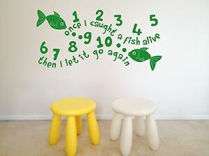 ONCE I CAUGHT A FISH, COUNTING, NURSERY RHYMES,  WALL ART, DECAL, VINYL STICKER