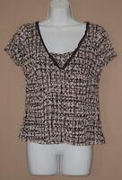 Womens Size Large Short Split Sleeve Summer Fashion Lace Trim Blouse Top Shirt