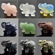 Sculpture Hand Carved Natural Gemstone Elephant Figurine 40mm Aventurine Crystal