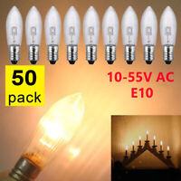 50Stk LED 0,2W E10 10-55V Topkerzen Riffelkerzen Spitzkerzen Ersatz Lichterkette