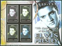 GHANA 70th BIRTH ANNIVERSARY OF ELVIS PRESLEY SC#2497 SHEET IMPERFORATED MINT NH