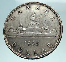 1935 CANADA under UK King GEORGE V Voyagers Genuine Silver Dollar Coin i82560