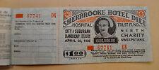 Vintage Sherbrooke Hotel Dieu Sweepstake Lottery Ticket Stub Unused 1936 MINT