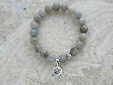 Labradorite Stone Gemstone Sterling Silver 'Lotus' Charm Stretch Beaded Bracelet