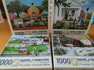 """Lot of 4 Bits and Pieces Jigsaw Puzzles  1000 Piece  """"Complete"""""""