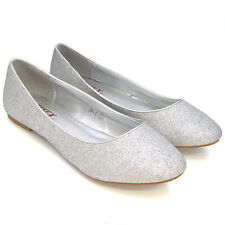 291af035b Womens Flat Pumps Ladies Glitter Ballet Ballerina Dolly Bridal Shoes Size  3-8