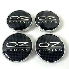 4 x OZ Racing 68mm Alloy Wheel Hub Centre Caps Cap Black Silver (Carbon Fiber)