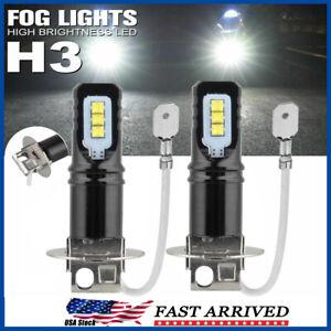2Pcs H3 6500K White 160W High Power CSP LED Fog Light Bulbs Driving DRL Lamps