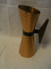 Mid Century 60´s Wrought Copper Vase with Teak Handle #A2