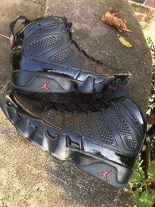 NIKE AIR JORDAN RETRO 9 BRED PATENT BLACK RED ANTHRACITE 302370-014 SIZE 12