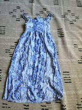 Maria Casero Tween Girls 10 Maxi Dress Easter Blue Cut-out Back Blue White Print
