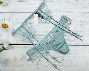 NWT VS Luxe Lingerie Embroidered Garter Belt + Thong size dusty blue XS/S M/L