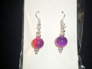 Single purple & red round crystal glass earrings