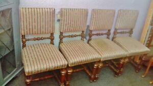 Set of 4 Vintage Gothic Style spindled Oak Dining Chairs detail below