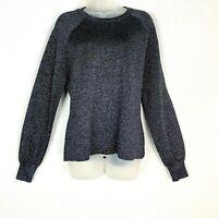 J CREW Women Side Split Pullover Sweater Sz Med Sparkly Crew Neck Metallic Blue