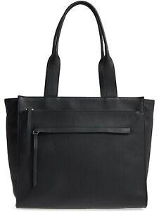 Nordstrom Finn Women's Pebbled Leather Functional Tote Shoulder Bag in Black