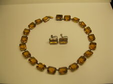 Antique Sterling Silver Golden Topaz French Paste Open Back Necklace Earrings