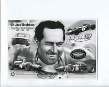 JACK BRABHAM LOT OF 2 HAND SIGNED 5x8 PHOTOS+COA     GREAT FORMULA 1 LEGEND
