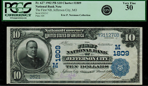 1902 $10 National Bank Note - Jefferson City, MO - FR.627 Charter 1809 - PCGS 30