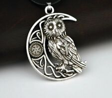 Celtic Owl Pendant Necklace Moon Viking Pagan Ladies Mens Symbol Wiccan Pagan