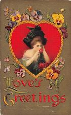 B26/ Valentine's Day Love Holiday Postcard 1910 Orrville Ohio Woman Large Hat 12
