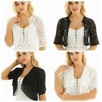 Women's Bolero Jacket Shrug 3/4 Sleeve Floral Lace Chiffon Cardigan Cropped Top