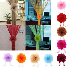 2PCS Window Curtain Tie Holder Peony Flower Tieback Clip-on Drape Home Decor HOT