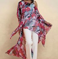 Ashro Shaywana High Low Top Caftan Blouse Plus Size 1X 2X 3X Red Blue Pink Green