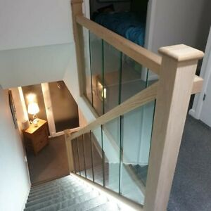 Oak and Glass Staircase Banister + Landing Set including Newel Posts and Glass