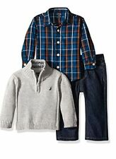 NWT Nautica Baby Boys 3 Piece Gift Set with Woven,Quarter Zip Sweater,Denim Jean