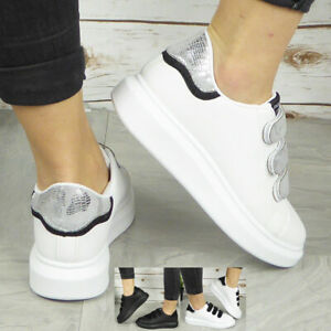 Ladies Womens Stick On Trainers Sneakers Slip On Jogging Plimsole Gym Pumps Shoe