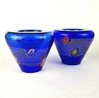 Murano Millefiori Glass Colbalt Blue Candle Holder Set of 2