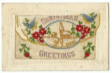 Silk Embroidered PC, Christmas Greetings, Snowy Village scene, Faults