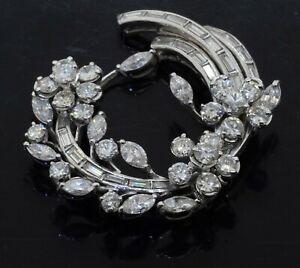 Heavy Platinum 8.68CT VS1/F diamond flower wreath brooch