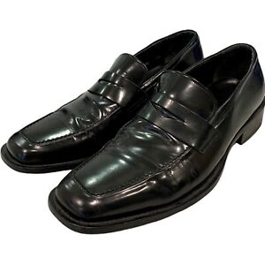 Via Spiga Black Leather Loafers Slip On Shoes 9.5 Made Italy EUC