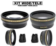 52mm Wide Angle Lens & 2.2x Telephoto Lens For Sony FDR-AX33 Handycam