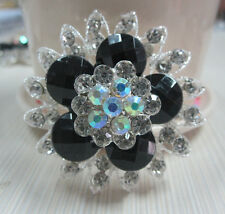 "2.2"" FACETED BLACK  FLOWER & CLEAR RHINESTONE CRYSTAL BROOCH"