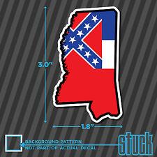 "SMALL Mississippi State Outline Flag - 1.8""x3.0"" - vinyl decal sticker hardhat"