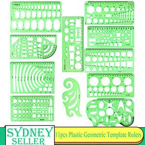 11pcs Plastic Circles Squares Geometric Template Ruler Stencil Measuring Tool AU