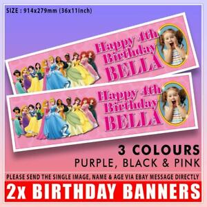 """2 PERSONALISED PHOTO DISNEY PRINCESS BIRTHDAY BANNERS 36 """"x 11"""" - ANY NAME ANY A"""