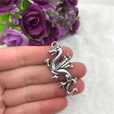 3pcs Large Dragon Charm Tibetan Silver Beads Finding Jewellery Making 50x20mm
