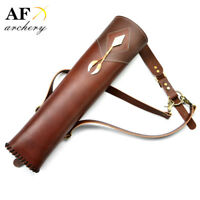 Three point shoulder back Top Head Layer Cowhide Leather Archery Quiver Brown
