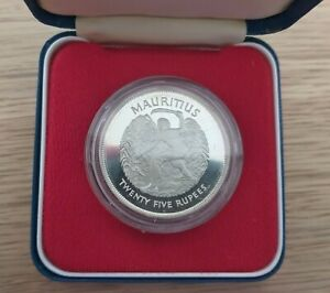 MAURITIUS – SILVER PROOF 25 RUPEES COIN 1977 YEAR KM#43a + BOX