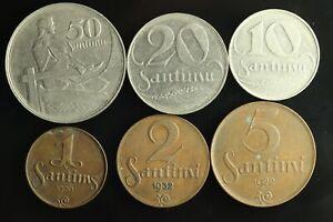 LATVIA Lettland Lettonia FULL SET 1922 -1939 coins 1,2,5,10,20,50 Santimi M908