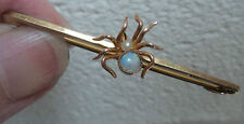Vintage 9ct Gold Spider Insect Bar Brooch c.1910/20  -  Opal & Seed Pearl
