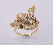 Rare Vintage Cartier 18K Gold Yin Yang Ring w/ 14K Emerald Bee Pin Size 5.5