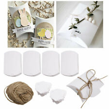 100 Pack White Pillow Box w/ Label Paper Candy Invitation Gift Favor Party Feast