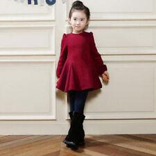 Kid Toddler Girls Princess Long Sleeve Tutu Skater Dress Party Autumn Skirt 1-9Y