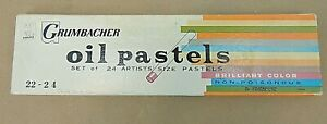 GRUMBACHER OIL PASTELS, SET OF 24 ARTISTS' SIZE, USED