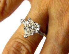Engagement Ring 925 Silver Three Stone 2.30 Ct Heart Shaped White Diamond
